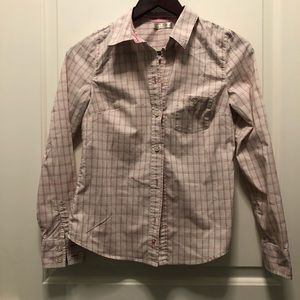 Old Navy Light Pink Plaid Button Top XS